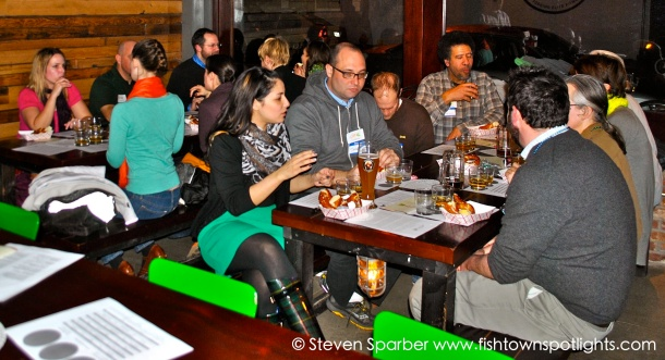 A German beer and food tasting at Frankford Hall, with KCFC members and prospective members.